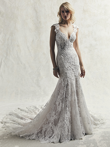 Chauncey Wedding Dress Sottero and Midgley | tulle fit-and-flare lace wedding dress